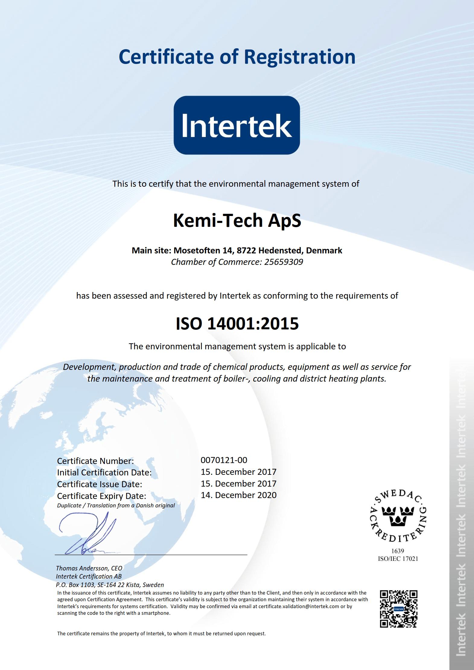 Kemi-tech ApS ISO14001:2015 certificate