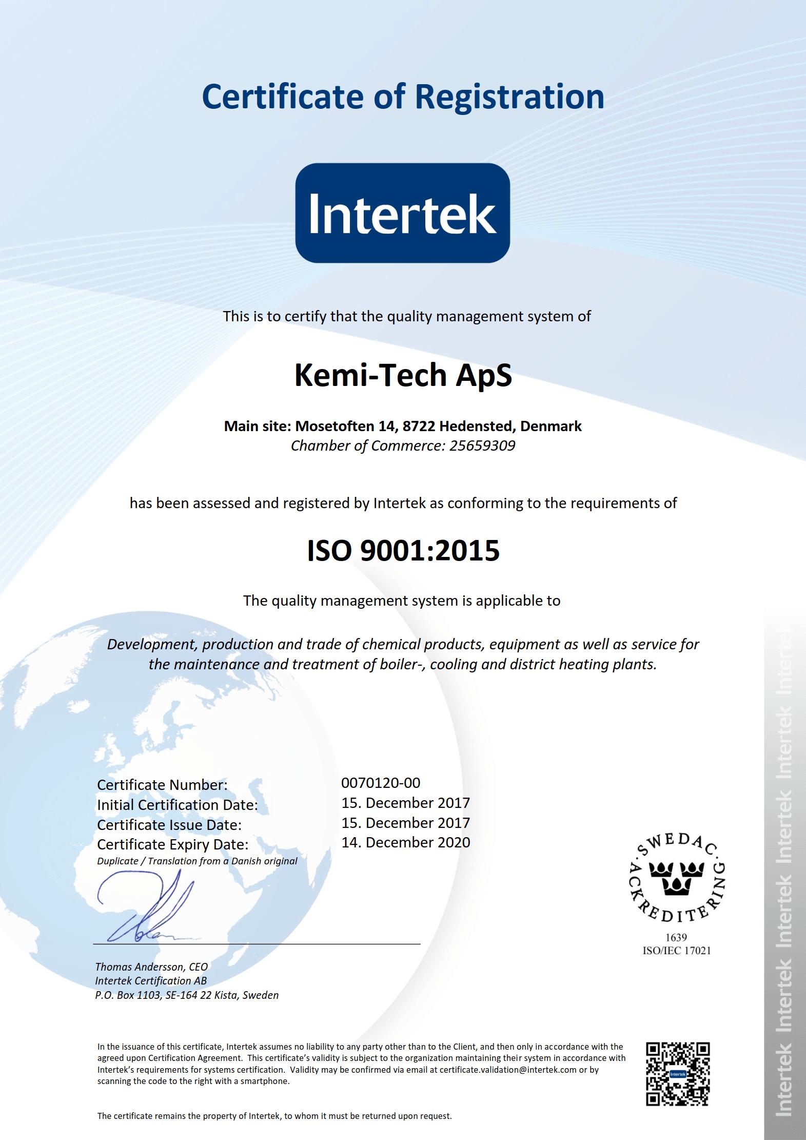 Kemi-tech ApS ISO9001:2015 certificate